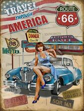 """Highway Route 66 Travel Through USA Car Pin-up 1950s Diner Motel Metal Sign 8""""x6"""
