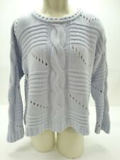 525 America Light Blue Long Sleeve Cable Knit Cotton Sweater Size S