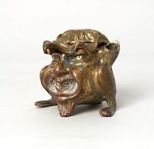 GOOD ANTIQUE BRONZE INKWELL GROTESQUE CREATURE, PROB. FRENCH.