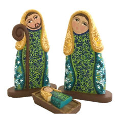 Wooden Nativity Set Christmas Floral Decoration Hand Made