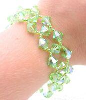 VTG Gold Tone Green Aurora Borealis Crystal Clasp Bracelet