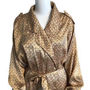 Vintage Lane Bryant Intimates Satin Long Robe 2XL (?) Belted Pockets Brown Peach