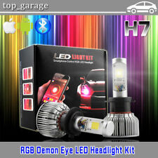 2019 RGB H7 High Low Beam LED Headlight Bulbs Demon Eye Bluetooth APP Control