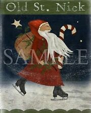 Primitive Christmas Santa Claus Belsnickle St Nick Ice Skates Tree Print 8x10