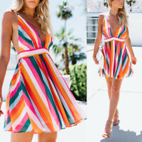 Women V neck Stripe Backless Sexy Mini Ladies Sleeveless Cocktail Beach Dress