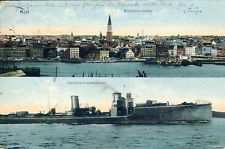 Ansichtskarte Kiel Stadtpanorama und Hochseetorpedoboot 1913