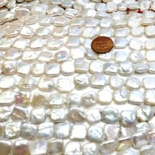 11-13mm Square Shaped White Coin Pearl Strand