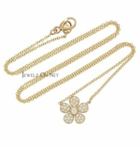 14K Gold 0.30Ct. Genuine Diamond Floral Pendant 16'' Chain Necklace Fine Jewelry