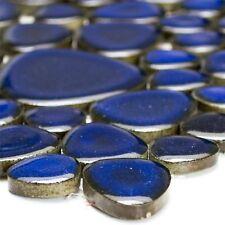 MUSTER von Mosaikfliesen Keramik Kiesel Optik Dunkelblau für Badezimmer Küche