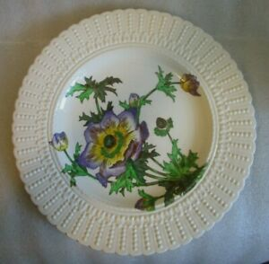 Vintage CAULDON HAND PAINTED CABINET PLATE Purple Yellow Flower Series ANEMONE!