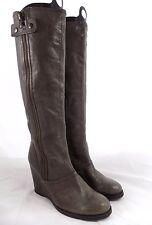 Apepazza MARTIN Taupe Grayish Light Brown Leather Wedge Boots // Women Size 8.5M