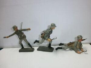 Konvolut 3 alte Lineol Massesoldaten Handgranatenwerfer Sturmtrupp zu 7.5cm