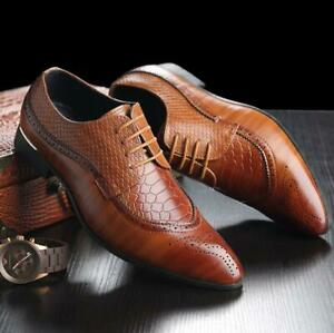 Mens Oxfords Brogue Leather Shoes Formal Business Weddings Casual Dress Shoes