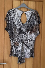 JOSEPH RIBKOFF ANIMAL PRINT COWL NECK TWIST FRONT TOP  SIZE 12