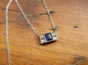 """Art Deco Sapphire & Diamonds 2.23 Ct 14K White Gold Over Pendant & 18"""" Chain"""