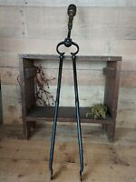 Antique Large Primitive Fireplace Tongs Blacksmith Made Copper Finial