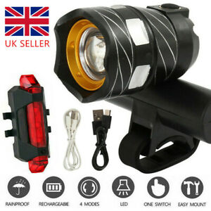 Bike Light Set, Super Bright USB RECHARGEABLE Bicycle Lights, Waterproof Cycling