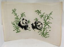 Vintage PANDAS AND FOLIAGE Needlepoint Canvas With Preworked Design