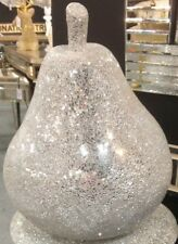 Large Silver Mirror Crackle Mosaic Sparkly Pear Sculpture Table Decor ornament