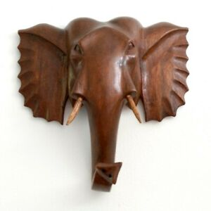 Wooden Elephant Carving Wall Hanging Genuine Hand Carved Animal Ornament 20 cm
