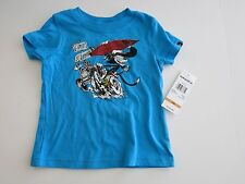 NWT Quiksilver Infant Toddler 12M Short Sleeve T-Shirt Turquoise Blue Surf Cat