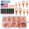 140PCS Copper Battery Cable End Eyelet Ring Lug Terminal Connector Wire Crimp US