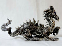 1999 Rawcliffe Pewter Fantasy Dragon Statue Holding Magical Crystal Wizard USA
