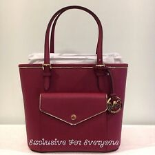 NWT Michael Kors Saffiano Frame Medium Pocket Tote Cherry/Gold Leather Bag $228