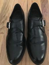 Cole Haan Black Leather Monk Shoes w/Silver Buckle Men's size 8.5