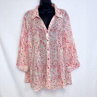 2 Gloria Vanderbilt GISELLE XL Pintuck Roll Tab Blouse Shirt Pink & Black