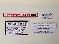Ford Escort RS2000 (2100 HC Calcomanía) AVO Bajo Capó Motor Bay Decal Sticker Set
