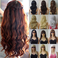 New Synthetic Hair Halloween Costume Full Wigs Curly Straight Black Brown Blonde