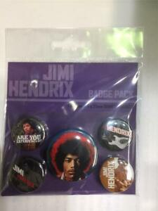 OFFICIAL LICENSED - JIMI HENDRIX - EXPERIENCE 5 BADGE PACK ROCK WOODSTOCK