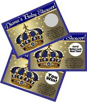 LITTLE PRINCE CROWN BLUE GOLD SCRATCH OFFS PARTY GAMES CARDS BABY SHOWER FAVORS