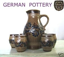 Saft/Wein Service: Krug + 6 Becher  MARZI & REMY  Westerwald Salt Pottery