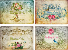 Vintage inspired Thinking of you note cards tags ATC altered art set of 8
