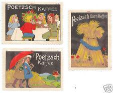 POSTER STAMPS (3) GERMAN POETZSCH KAFFEE COFFEE