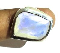 Rainbow Moonstone Natural Gemstone 925 Sterling Silver Ring Size 7 SR-122