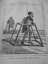 Caricature 1874  Déambulateur pour les empêcher de tomber