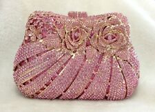 Pink Gold Roses Floral Handmade Austrian Crystal Party Evening Bag
