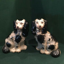 Pair of Vintage Staffordshire King Charles Spaniel Royal Mantle Dogs
