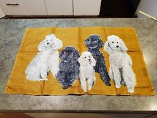 """New listing Adorable Vintage 1950s Pure Linen Irish Ulster Cloth Towel Poodles Dogs 19""""x31"""""""