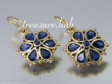 E036 Genuine 9ct Yellow Gold NATURAL Sapphire DAISY EARRINGS Drop Blossom Flower