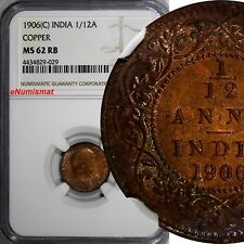 India-British Edward VII Copper 1906 (C) 1/12 Anna NGC MS62 RB Thick KM# 497
