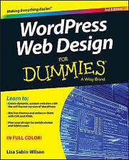 Wordpress Web Design for Dummies  3rd Ed by Lisa Sabin-Wilson New Paperback Book