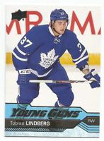 2016-17 UD Young Guns #491 Tobias Lindberg RC Rookie Toronto Maple Leafs