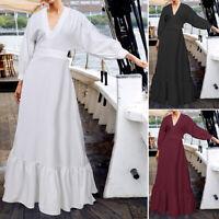 Élégant Femme Casual Manche Longue Col V Couture Plissé Flowy Dresse Robe Maxi