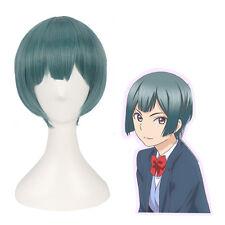 Kiss Him Not Me Nishina Shima Short Green Straight Cosplay Full Wig US Ship