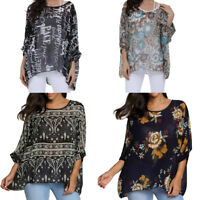 Summer Women Loose T-shirt Thin Chiffon Floral Printed Dolman Sleeve Top Blouses