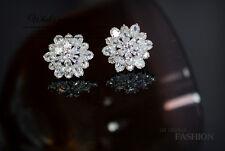 Boucles d`Oreilles Clous Fleur Neige Placqué Or Blanc CZ Mariée Mariage G 1